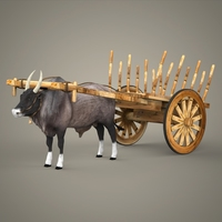 Realistic Ox Cart 3D Model