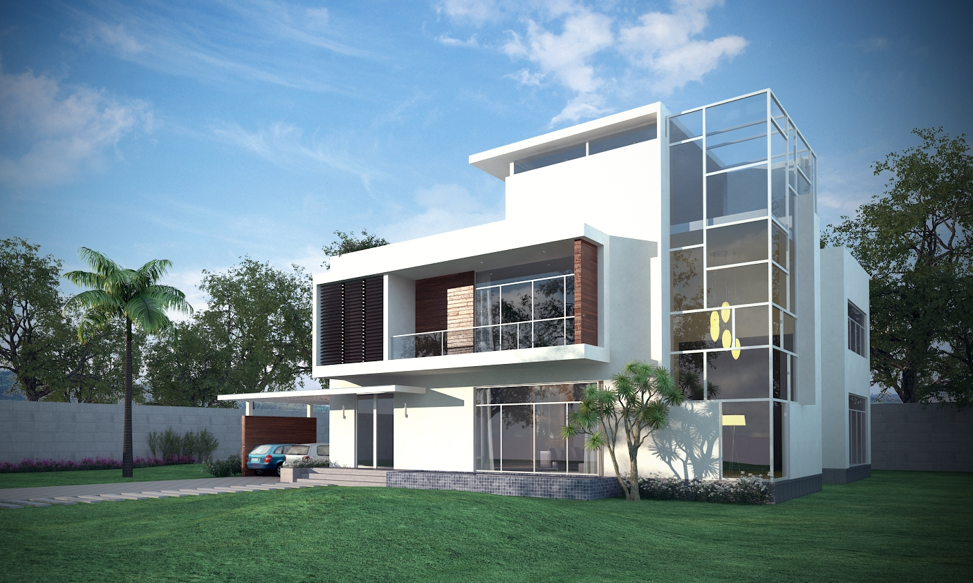 Luxury contemporary house 3d model for Exterior 3d model