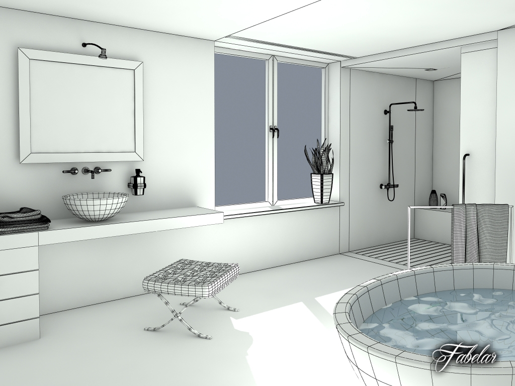 Bathroom 14 3d model for Bathroom design 3d model