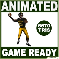 American Football Player Low For Videogame 3D Model