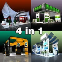 4 in 1 Exhibit Booth Design for Trade Show 3D Model