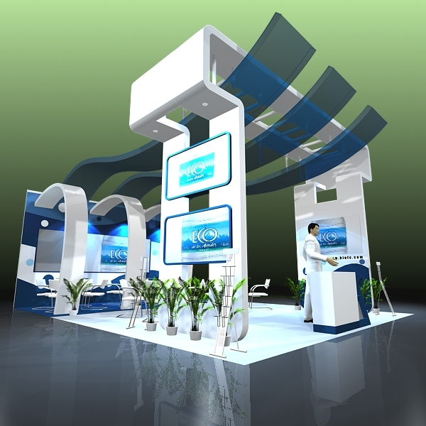 Exhibition Stand 3d Model : 4 in 1 exhibit booth design for trade show 3d model
