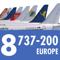 737 200 Collection. Eight Europe Airlines 3D Model