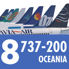 737 200 Collection. Eight Oceania Airlines 3D Model