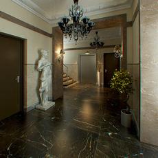 Hall Lobby decorated interior full scene 3D Model