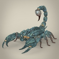 Fantasy Blue Scorpion 3D Model