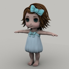 Cartoon little girl 3D Model