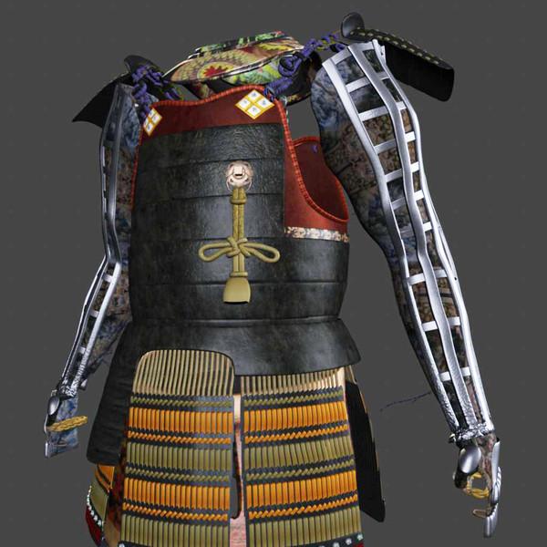 samurai armor black ornate 3d model