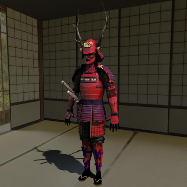 samurai armor red sanada 3d model