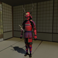 Samurai Armor Red ( Sanada ) 3D Model