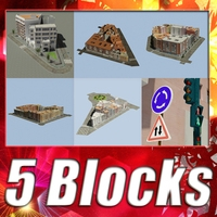 5 City Blocks Collection 3D Model