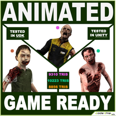 Three Modern Zombies for videogames 3D Model