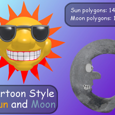 Cartoon Style Sun And Moon 3D Model