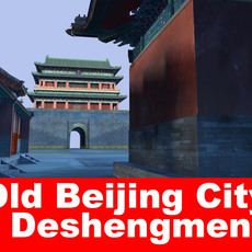 Old Beijing City deshengmen 3D Model
