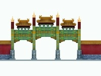 China ancient torii 2 3D Model