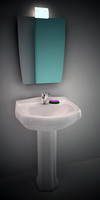 Wash-bowl with mirror 3D Model