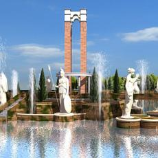 fountain 01 Animated 3D Model