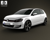 Volkswagen Golf 3-door GTI 2014 3D Model