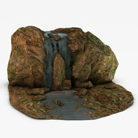 Mossy Waterfall 3D Model