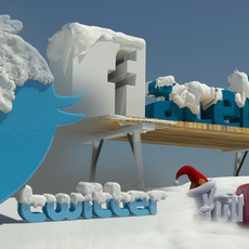 Social media Winter in snow 3d Logos 3D Model