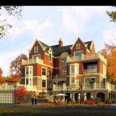 Architecture 040  -Villa building 3D Model