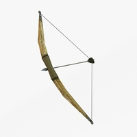 Wooden bow with arrows 3D Model