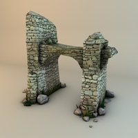 Ruins with plants and rocks 3D Model