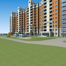 Architecture 599 multilayer Residential Building 3D Model
