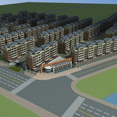 Architecture 600 multilayer Residential Building 3D Model