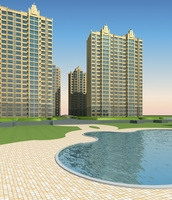 Architecture 624 High Rise Residential Building 3D Model