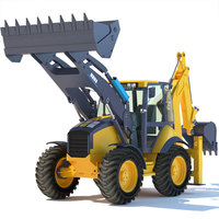 444E Backhoe Loader Vehicle 3D Model