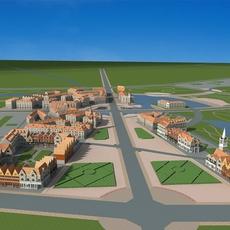 Architecture 645 City block Building 3D Model