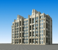 Architecture 646 multilayer Residential Building 3D Model