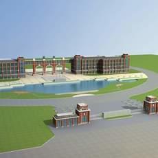 Architecture 668 School Building 3D Model