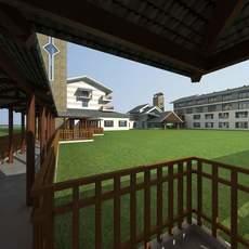 Architecture 676 Hotel Building 3D Model