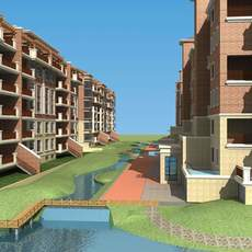 Architecture 691 multilayer Residential Building 3D Model
