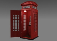 Red UK Phone Booth 3D Model