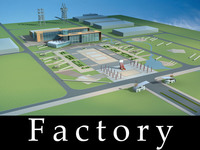 Architecture 757 Factory Building 3D Model