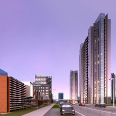 Architecture 821 City block Building 3D Model