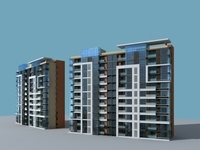 Architecture 870 multilayer Residential Building 3D Model