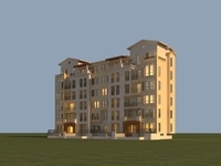 Architecture 881 multilayer Residential Building 3D Model