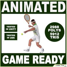 White Tennis Player For Videogames (5912 tris) 3D Model
