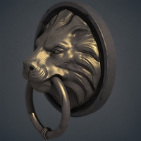 Lion Door Knocker Handle 3D Model