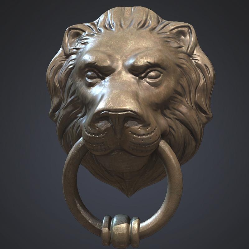 Lion head door knocker 3d model - Lion face door knocker ...
