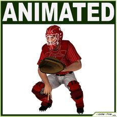 White Baseball Player Hi-poly (CATCHER) 3D Model