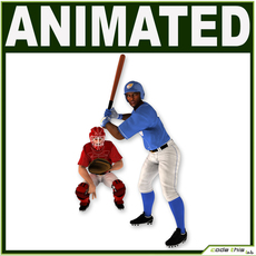Two Baseball Players white CATCHER and black BATTER 3D Model