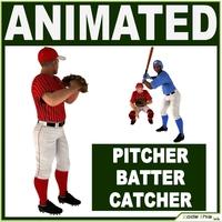 Three Baseball Players white CATCHER, black BATTER and White PITCHER 3D Model
