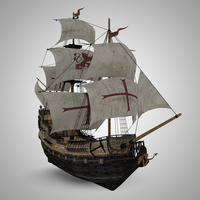 Galleon Pirate Sail Ship Black Pearl 3D Model