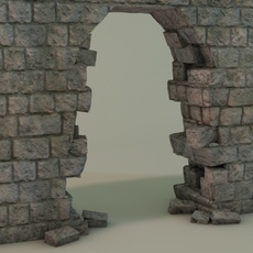Broken wall gate 3D Model