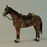 Horse with fur and saddle 3D Model